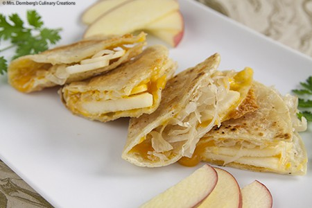 Apple Sauerkraut & Cheddar Quesadillas
