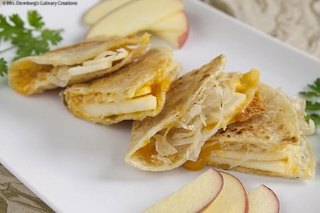 Apple Sauerkraut & Cheddar Quesadillas
